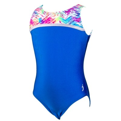 Dominique High-Neck Leotard - Neon Trax